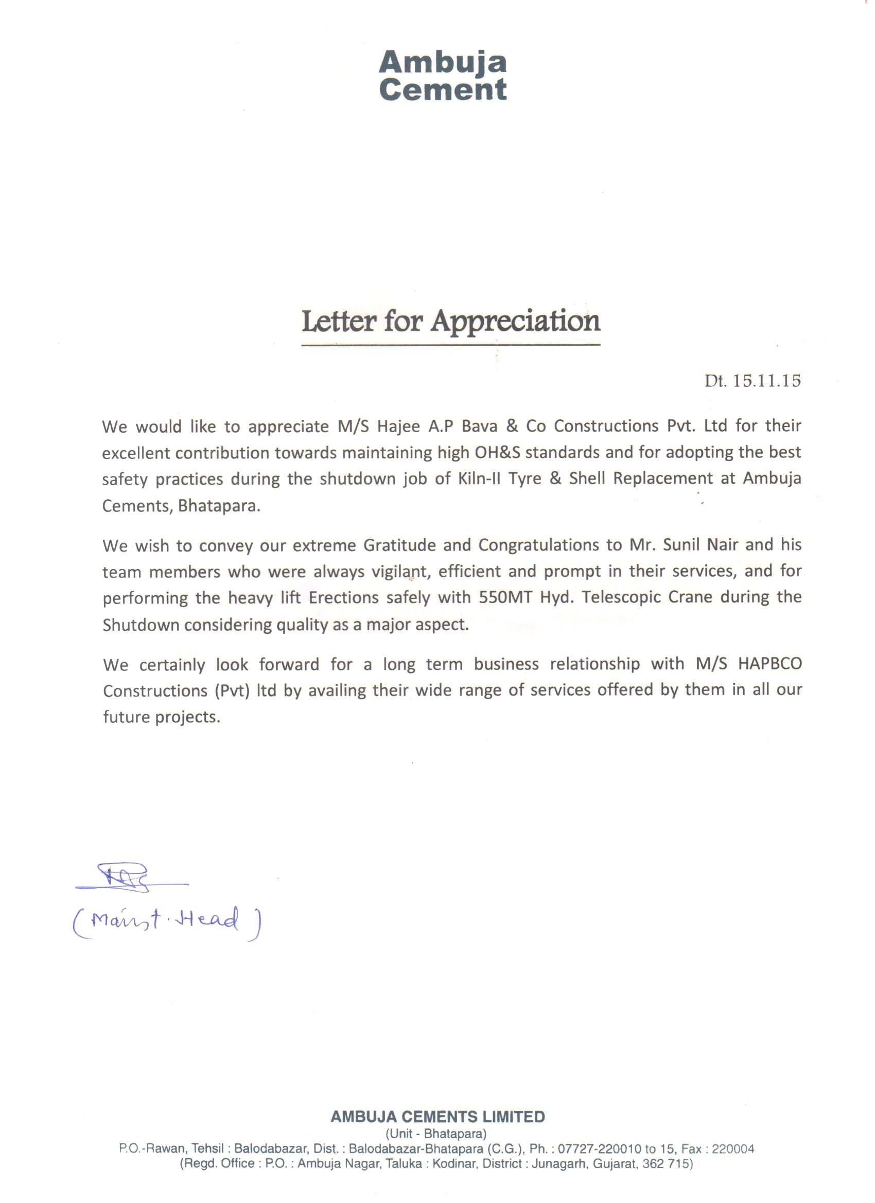 Appreciation Letter from Ambuja Cements