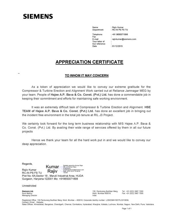 Appreciation Letter from Siemens Limited