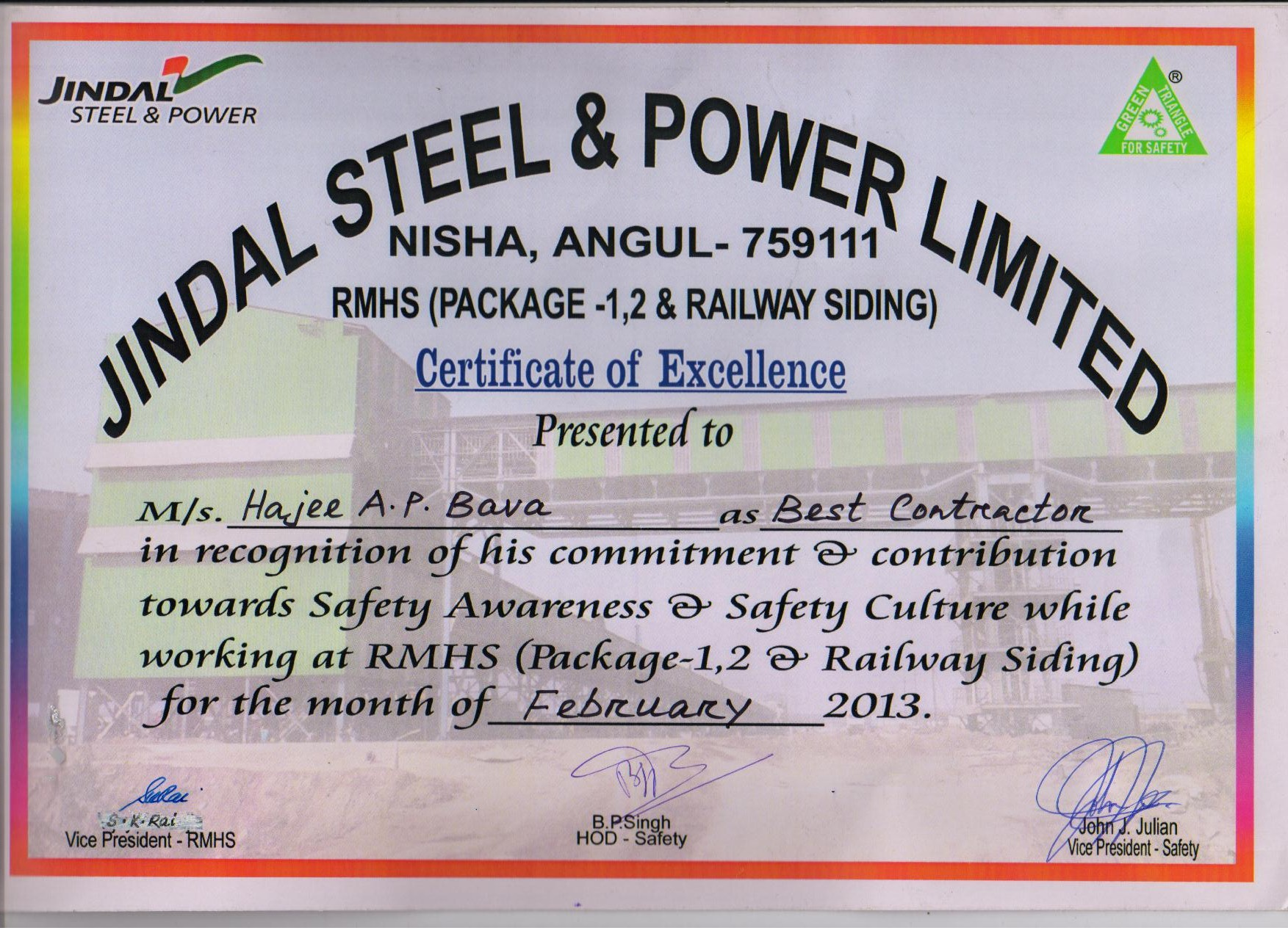Appreciation Letter from Jindal Steel & Power Ltd