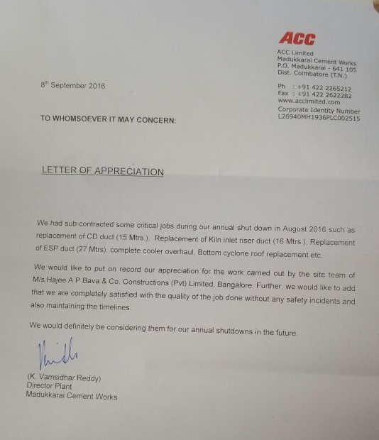 Appreciation Letter from ACC Cements