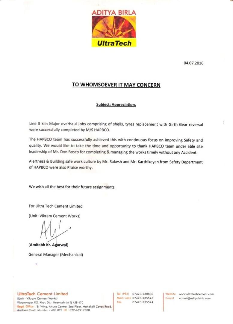 Appreciation Letter from Ultratech Cements Limited