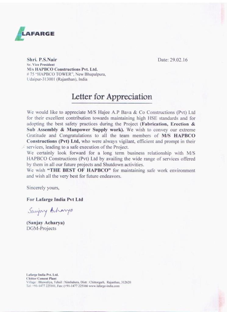 Appreciation Letter from Lafarge India Private Limited