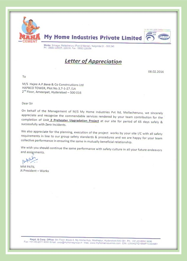 Appreciation Letter from MyHome Industries Ltd