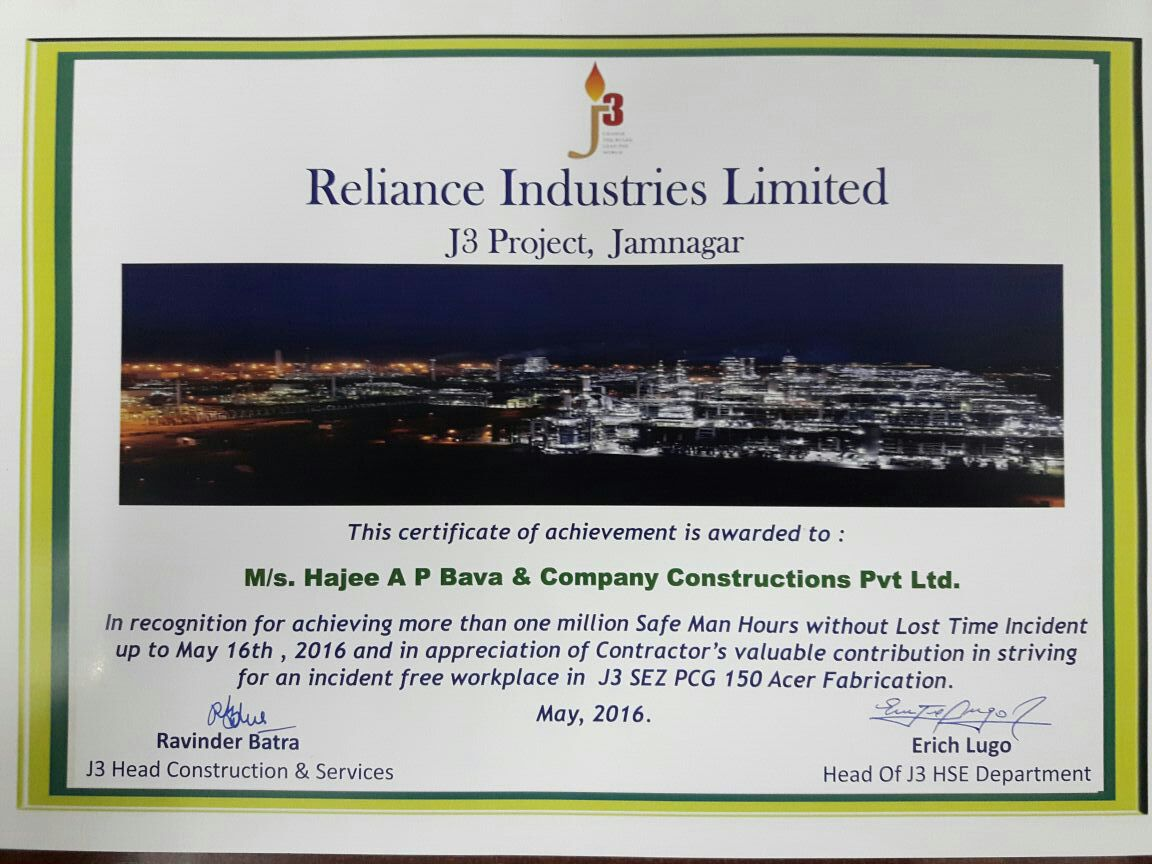 Appreciation Letter from Reliance Industries Ltd