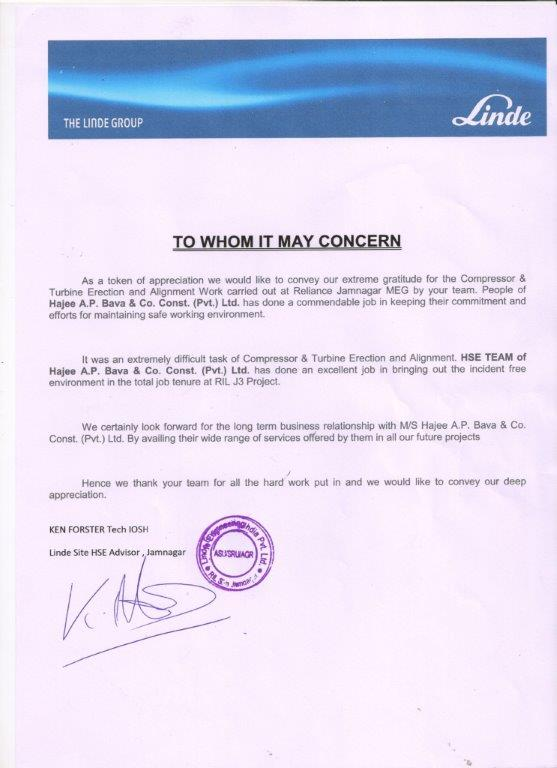 Appreciation Letter from Linde Group