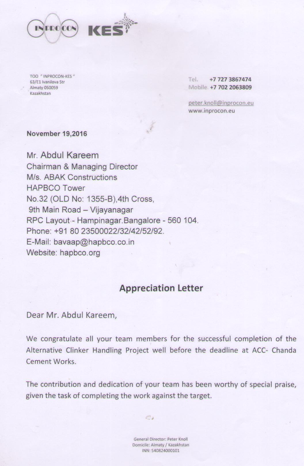 Appreciation Letter ACC