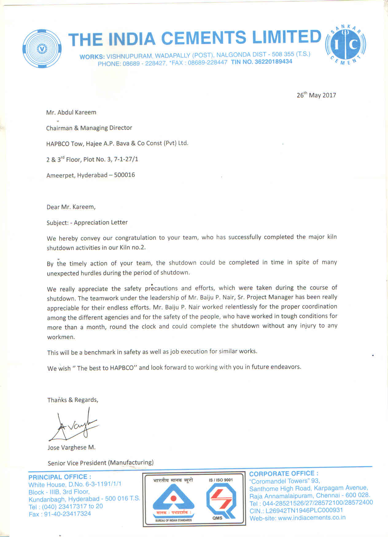 Appreciation Letter ICL
