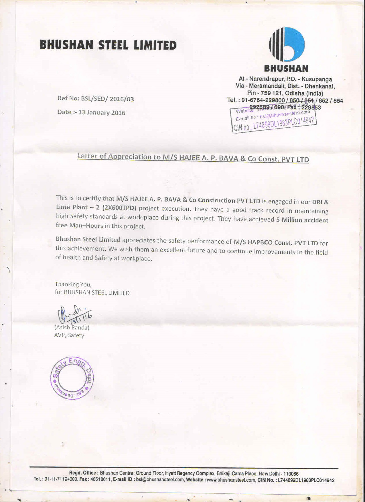 Appreciation Letter from Bushan Steels Ltd
